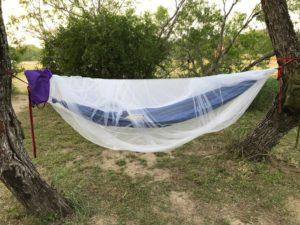 Jerry's homemade hammock with bug net
